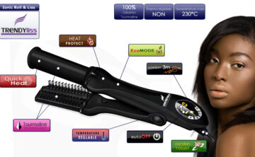 Fer à Lisser TrendyLiss Tourmaline Roll & Liss Pro Black
